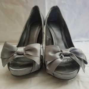 Satin Peep Toe Bow Heels